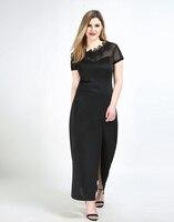 Frauen Sexy Plus Größe Maxi Cocktail Party Kleid Schwarz Nacht heraus Semi Formal Spitze Kleid Split Design Seite Mesh Patchwork kleid