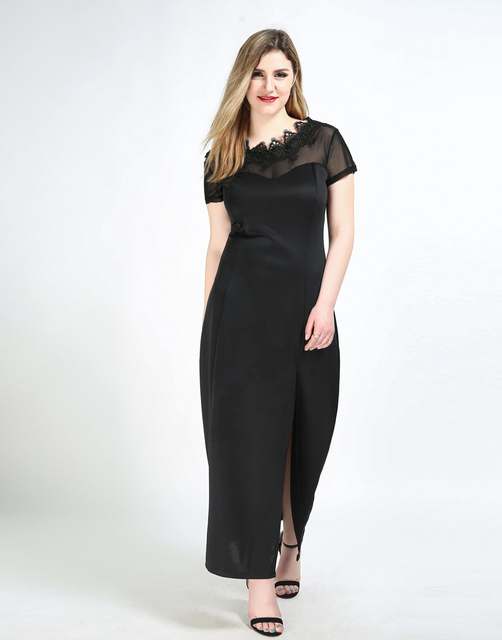 Womens Sexy Plus Size Maxi Cocktail Party Dress Black Night Out
