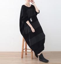 2017 female original design loose plus size cotton 100% coarse horizontal stripe o-neck midguts asymmetrical cutting dress
