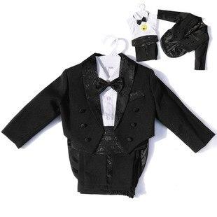 Little Boy Tuxedo/Wedding Party baby Boy Suit/Gentleman Bowtie Baby Boys 5-piece Suit Set 118