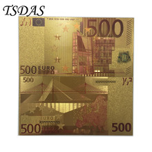 10pcs/lot 24k Gold Foil Plated 500 Euro Bank Notes in Colors, Banknotes Paper Money Wedding Return Gift