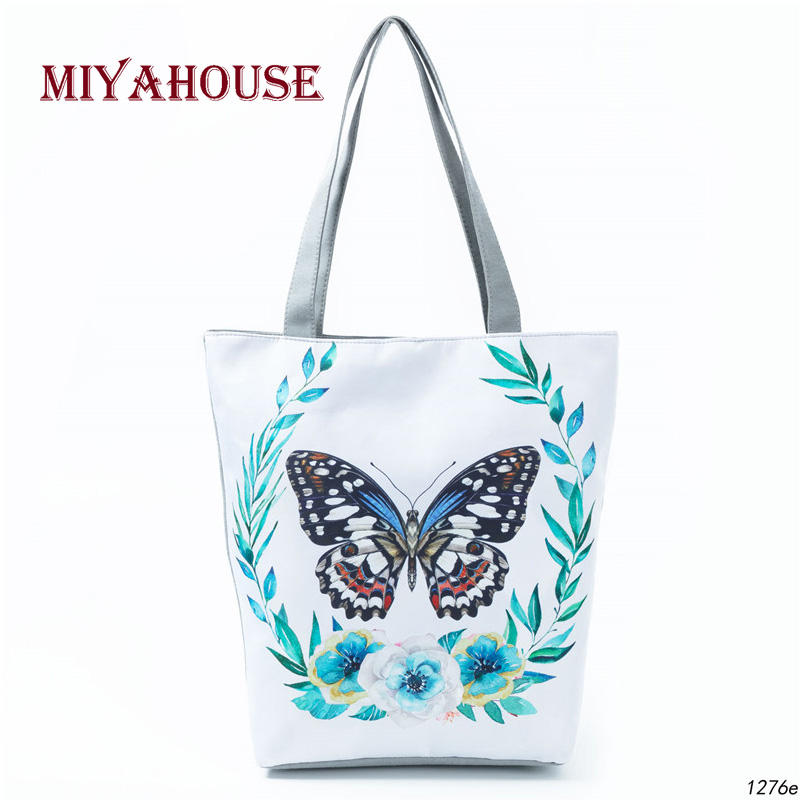 Butterfly Printed Casual Tote Large Capacity Female Handbags Single Shoulder Shopping Bags Daily Use Women Canvas Beach BagButterfly Printed Casual Tote Large Capacity Female Handbags Single Shoulder Shopping Bags Daily Use Women Canvas Beach Bag