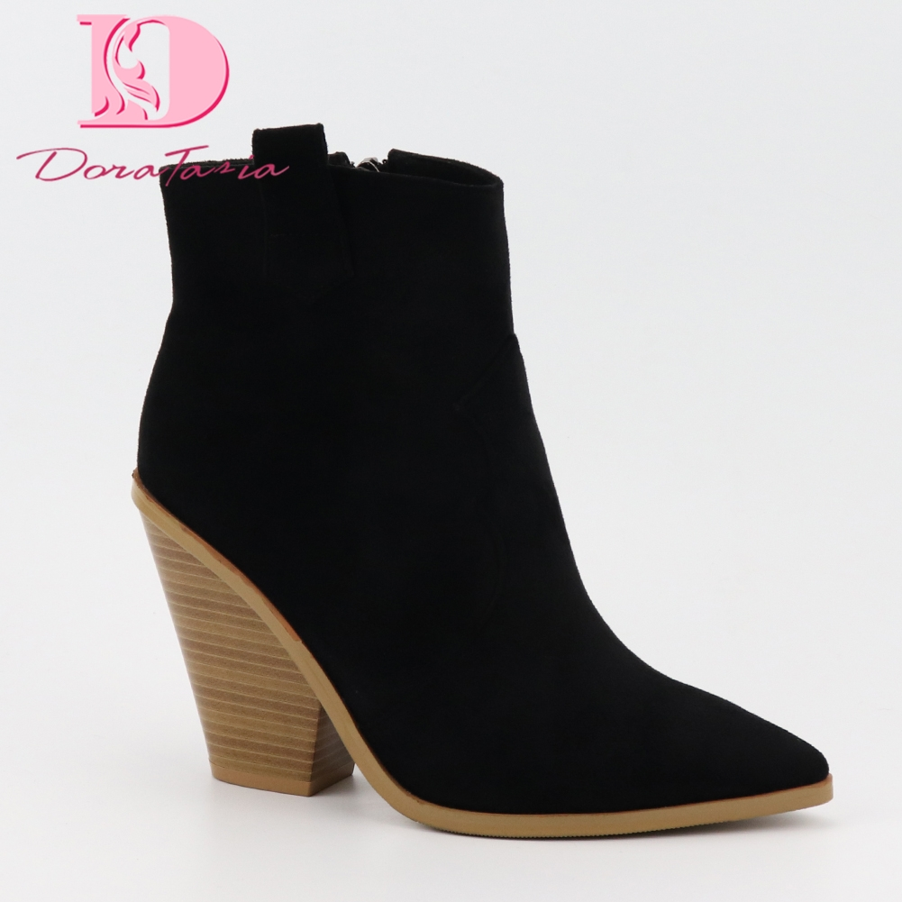 2019 plus Size 34 43 black chunky Heels ankle Boots Women Shoes Slip On heeled pointed