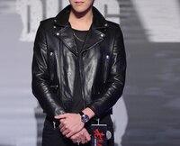 Autumn spring men's motocycle jackets male genuine leather sheepskin coats turn-down collar black plus size xxxxxl 3xl 4xl xs