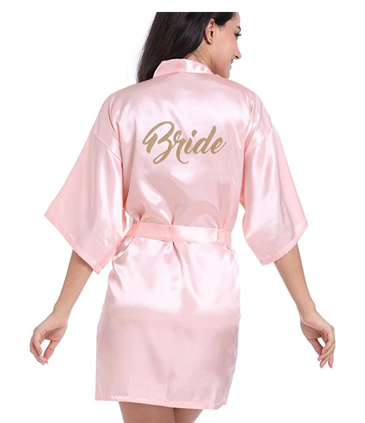 RB85 Maid Of Honor Letter Golden Glitter Print Kimono Robes Faux Silk Women Bachelorette Wedding Preparewear Bridal Party Robes