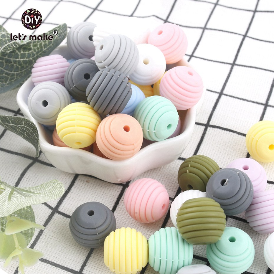 Let's Make Mint Color Spiral Beads 5pcs 15mm Silicone Round DIY Nursing Jewelry Accessories Beads BPA Free Baby Teether