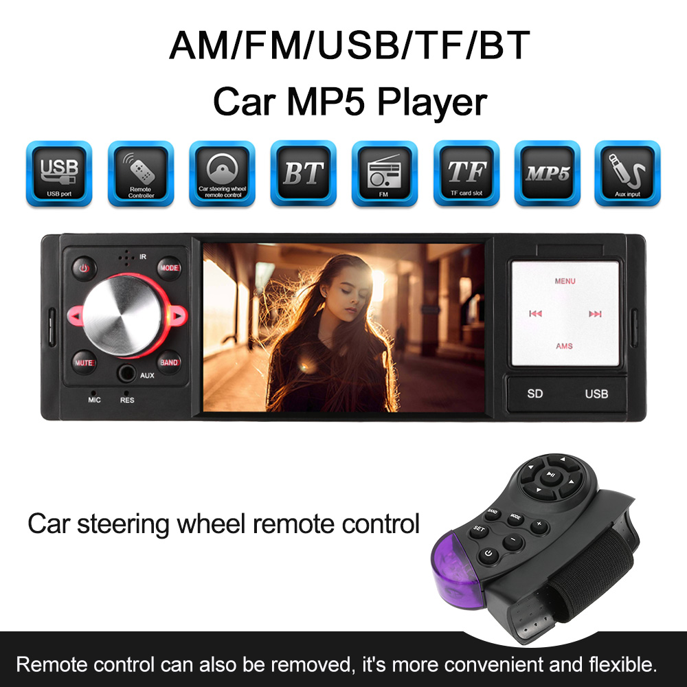 USB TF Radio Mp3 Car Radio Stereo FM MP4 Audio Player In Dash Support Steering Wheel Remote Control Rear Camera input Phone call 12v 4 1 inch hd bluetooth car fm radio stereo mp3 mp5 lcd player steering wheel remote support usb tf card reader hands free