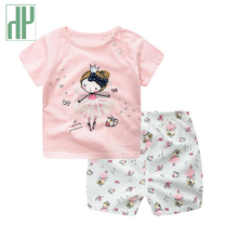 0-2Y Baby girl clothes Casual summer 2017 Brand newborn baby Short sleeves Printed Top+short 2pcs suit outfit