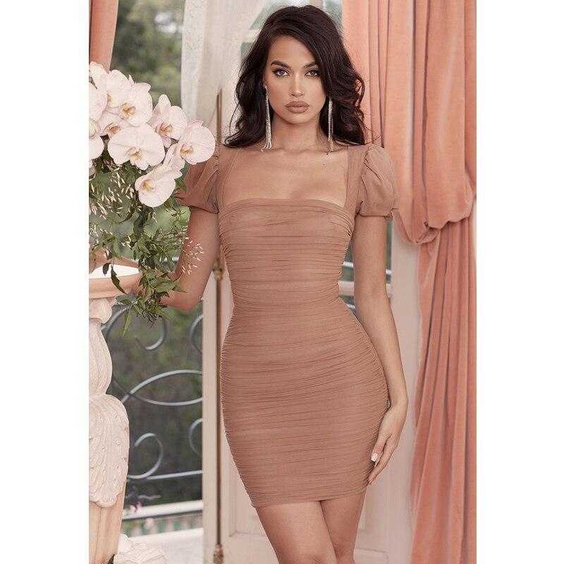 2019 date mode été robe à manches courtes brun maille bouffante Bandage robe femmes moulante élégante célébrité fête Vestidos Club