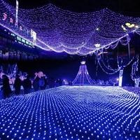 Led Net Lights Large Outdoor Garland Christmas Lights On The Window Decorations Garden Mesh Fairy Light Waterproof AC 220V H 30