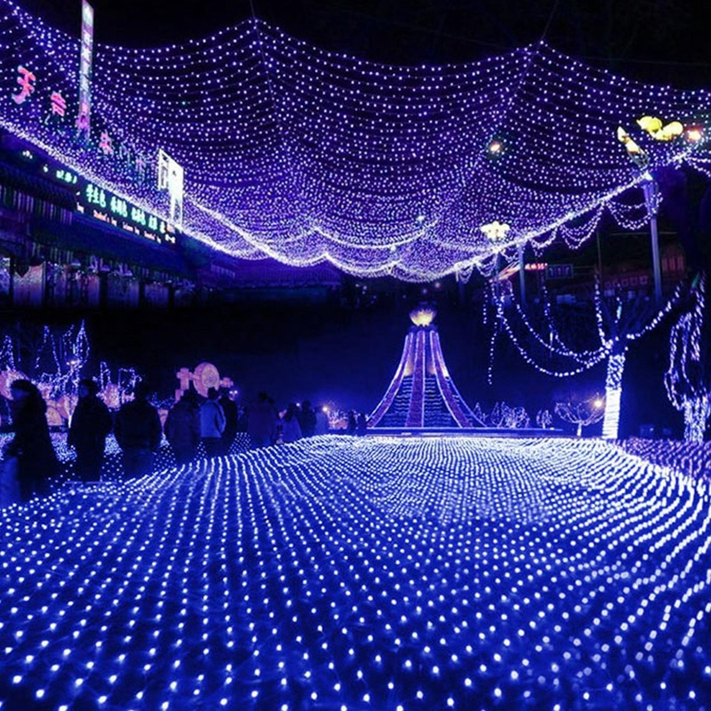 led net lights large outdoor christmas decorations garden mesh fairy light christmas outdoor waterproof ac 220v h 30 in holiday lighting from lights - Led Net Christmas Lights