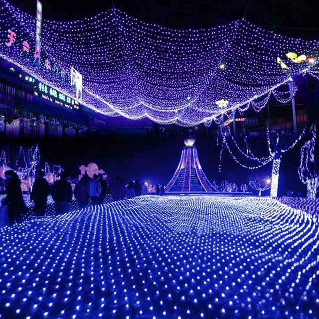 Led Net Lights Large Outdoor Garland Christmas On The Window Decorations Garden Mesh Fairy Light