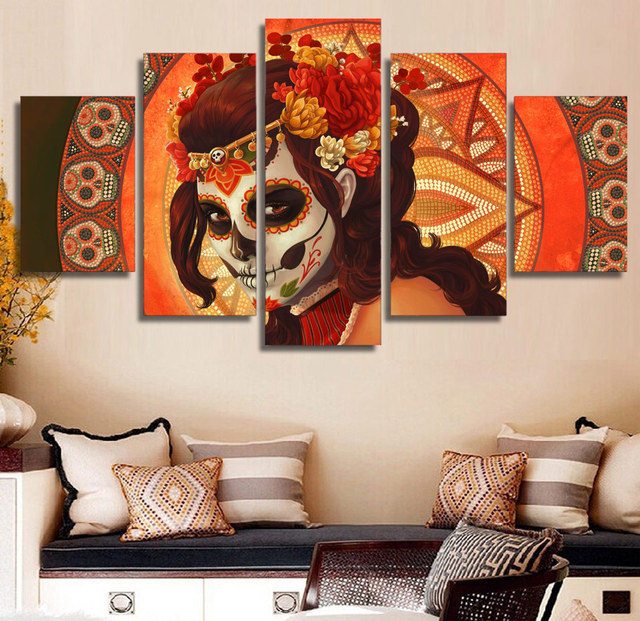 No Frame Hd Poster Day Of The Dead Face Group Canvas Painting Top