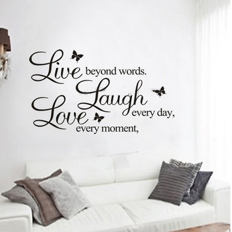 Live Love Laugh Letters Wall Stickers Removable Environmental Pvc Home Decor Transp Waterproof Vinyl Sticker In From Garden On