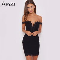 AKYZO 2017 Sexy Summer Lace Floral Bodycon Dress Women Solid V Neck Strapless Party Sheer Backless