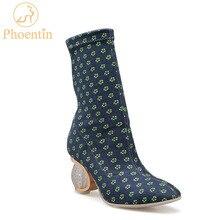 Phoentin slip on elástica mid-calf botas mulheres 2018 polka dot mulheres bota saltos de cristal botas femininas frete grátis FT481