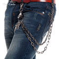 Hip Hop Men's Eagle Head and Claws Black Gunmetal Wallet Chain Biker Trucker Keychain 2 Strands Heavy Waist  Jeans Chain KB65