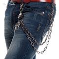 Hip Hop Men's Eagle Head and Claws Black Gunmetal Wallet Chain Biker Trucker Keychain 2 Strands Heavy Waist  Jeans Chain KB65