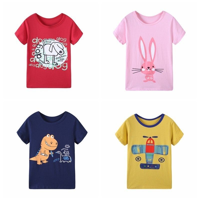 2018 Summer Girls & Boys Short Sleeve T Shirts Cartoon Print T-shirt Striped Tee Shirt Cotton Girls Tops For Kids Clothing rose print marled tee