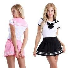 IEFiEL Frauen Adult Baby Windel Liebhaber Schule Mädchen Snap Schritt Strampler mit Mini Plissee Rock Clubwear Kostüm Cosplay Kleidung