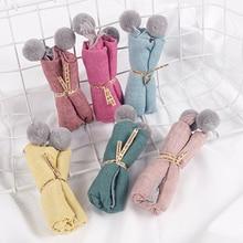 Осенне-зимние детские повседневные однотонные средние плотные треугольные весенние клетчатые шарфы в горошек для маленьких девочек