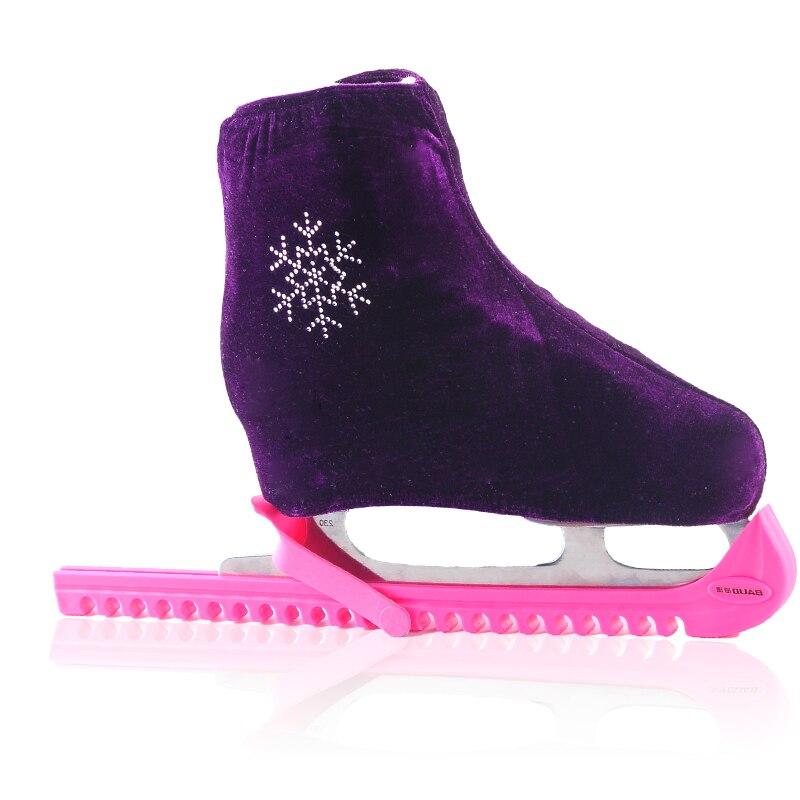 1 par de patinação no gelo sapatos de patinação artística veludo diamante capa rolo skate anti sujo flanela elástica para crianças adulto s m l