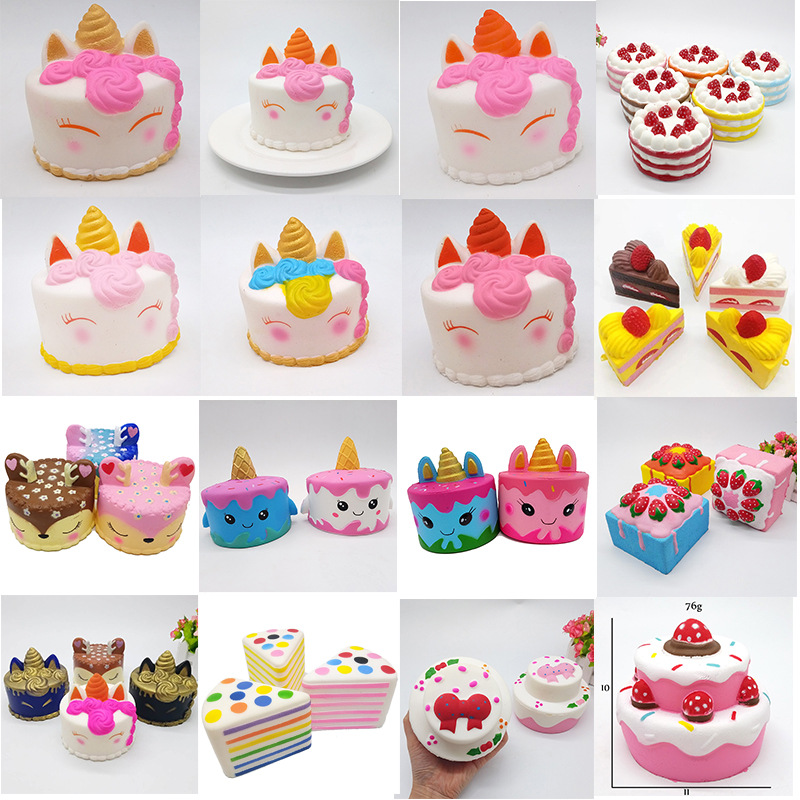 New Funny Unicorn Cake Squishy Toys For Kids Springback Toys Cake Deer Animal Slow Rising Anti-Stress Stress Reliever Toys