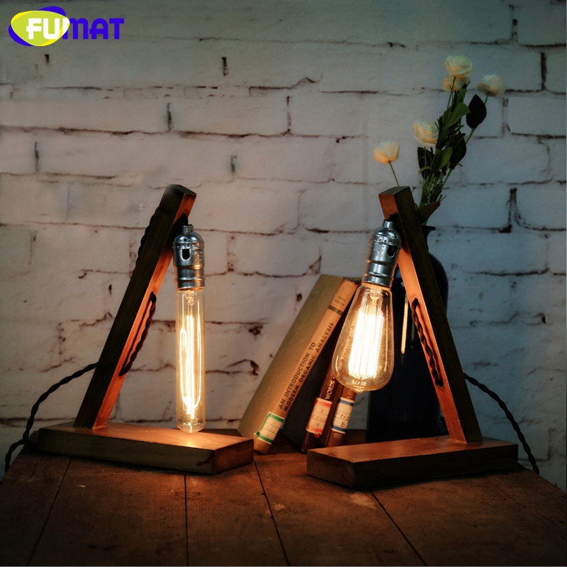 FUMAT Vintage Nature Wood Base Table Lamp with Edison Bulb Desk lamp Loft Industrial Retro Table Lights for Cafe Study loft vintage retro industrial edison desk light wood clear glass copper base table lamp cafe bar club coffee shop hall store
