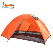Desert & Fox Sunshine Dobbeltslag Telt 2 Person Orange Grønn Camping Telt Stor Space Pustende Vanntett Portable Travel Telt