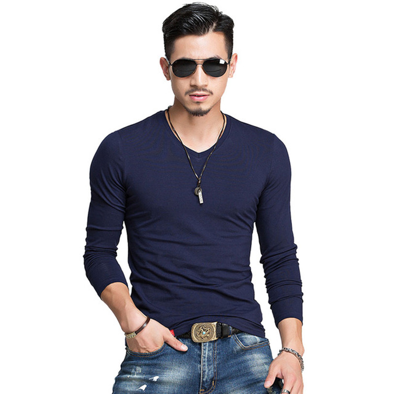 Hot 2018 New Spring Fashion Brand V-Neck Slim Fit Long Sleeve T Shirt Men Trend Casual Mens T-Shirt Korean T Shirts 3XL 4XL 5XL
