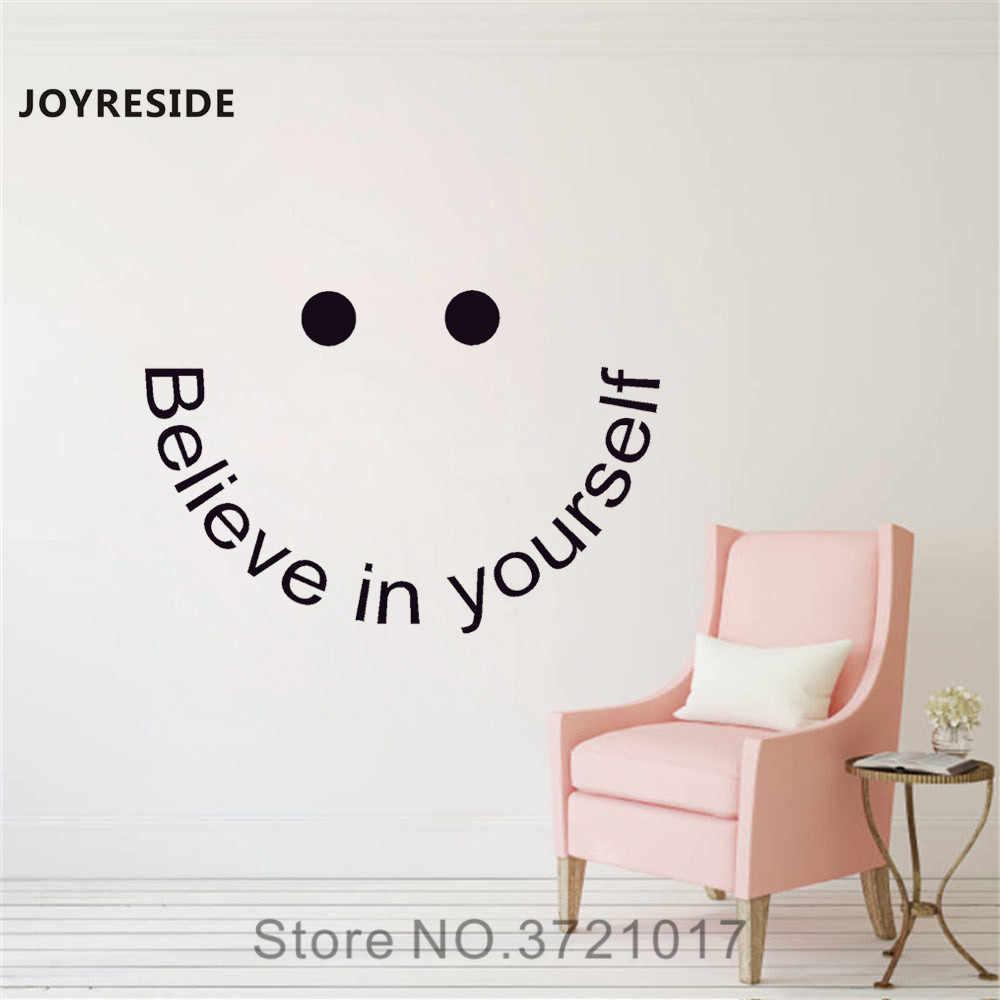 JOYRESIDE Quote Wall Believe In Yourself Decal Vinyl Sticker Teen Bedroom  College Dorm Living Room Interior Art Decoration A065