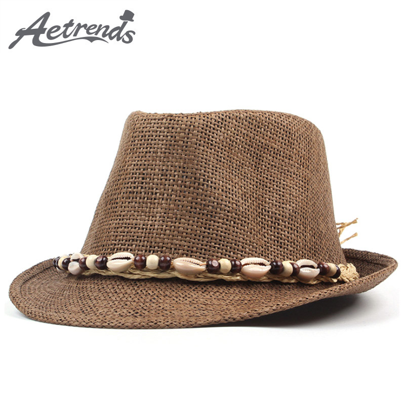 04b25d83dfe  AETRENDS  2018 New Summer Straw Hats Jazz Cap Men Women Classic Panama  Caps Derby Bowler Fedoras Hat Z 6330-in Fedoras from Men s Clothing    Accessories on ...