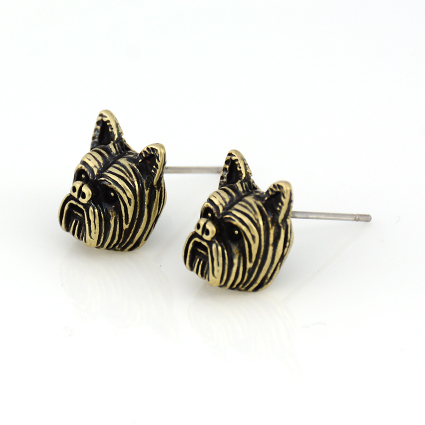 Vintage Punk Yorkshire Terrier Stud Earring Dogs Brincos Love Earrings For Women Men Jewelry Black Friday Deals Christmas Gift