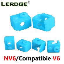 LERDGE 3D Printer Parts V6 Silicone Sock Heated Block Use XCR-NV6 Heating Block Hotend Extruder Blue 1pc