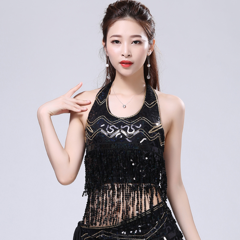 3ff35c75de98e5 Aliexpress.com   Buy Sexy Women Sequin Fringe Cami Top U Neck Halter Cold  Shoulder Back Lace Up Crop Top Club Party Dance Performance Outfits from  Reliable ...