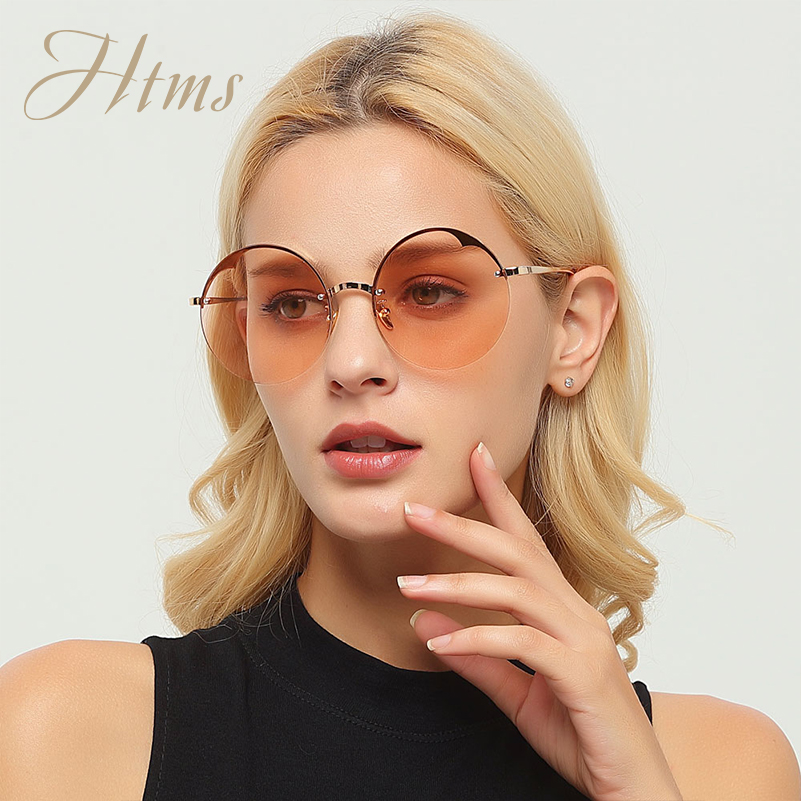 HTMS New Fashion Round Sungalsses Women Oversized Colored Sun Glasses Men Brand Designer Semi Rimless Glasses Gafas De Sol UV400 ...