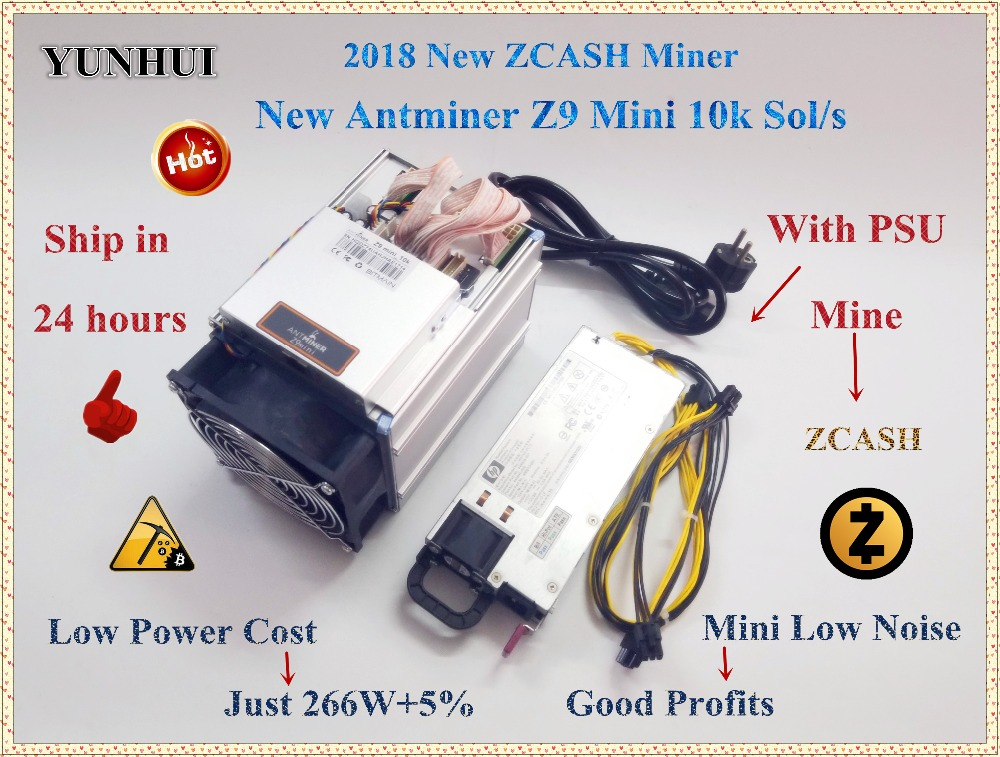 Доставка в течение 24 часов ZCASH Шахтер Antminer Z9 мини 10 К Sol/s 300 Вт Asic Equihash Шахтер шахты дзен ZEC BTG лучше чем Antminer S9 до 14 К