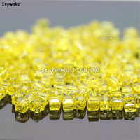 Isywaka 1980pcs Cube 2mm Yellow Color Square Austria Crystal Bead Glass Beads Loose Spacer Bead For