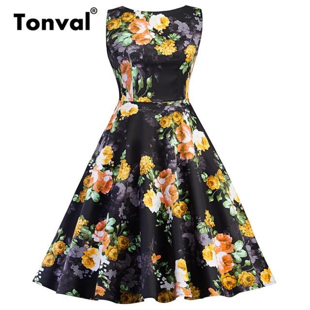 Tonval 1950S Style Retro Yellow Flower Dress Floral Print Bow Tie Back Women  Black Dresses 2018 Elegant Vintage Dress 0df85e64d7