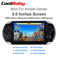 10pcs/1lot 5.0 Inch Retro Video Game Console Supports TV Output MP3 / Movie Camera Multimedia Video Handheld Game Player