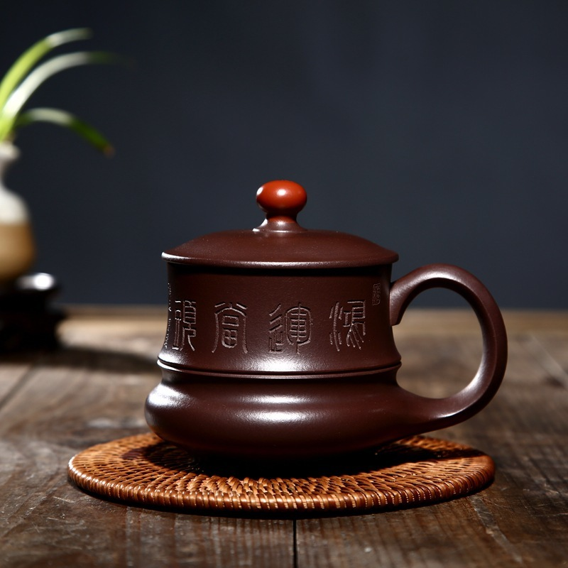 Yixing are recommended by the manual old lily lid cup purple clay teapot teacup tea set gift a undertakes