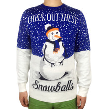 Funny Knitted Ugly Christmas Sweater for Men and Women Tacky Dirty Snowman Pattern Knit Xmas Pullover Jumper Oversized S-3XL