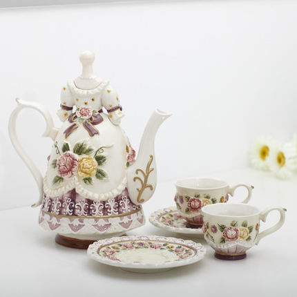 Ceramic pastoral embossed flower rose teapot teacup set coffee pot coffee cup wedding Free shipping