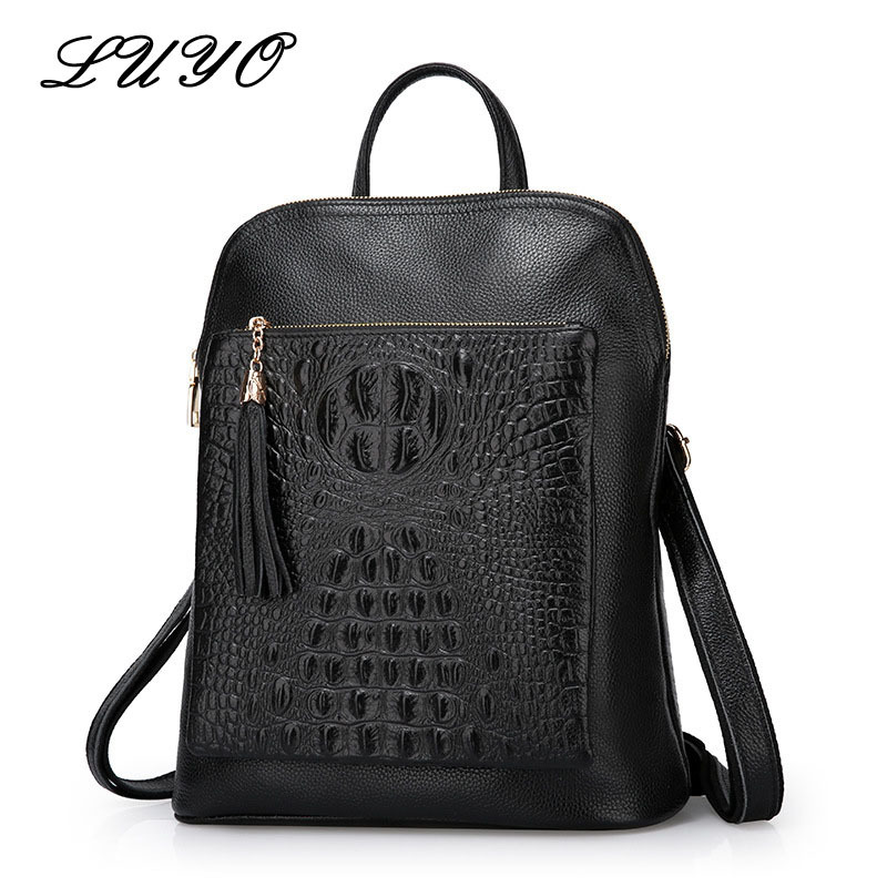 Luyo Multifunction Genuine Leather Crocodile Grain Women Backpack Youth Bags Female Brand Luxury Designer Laptop Sac A Dos Femme luyo 100% soft genuine leather women backpack for girls youth woman ladies laptop bag daily backpack school sac a dos travel