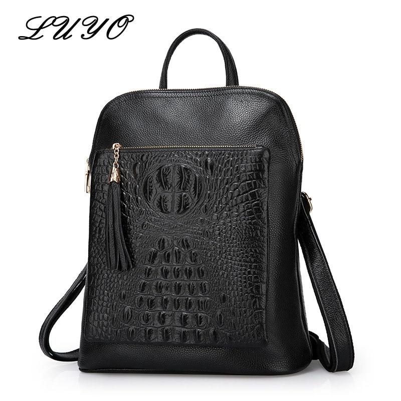 Luyo Multifunction Genuine Leather Crocodile Grain Women Backpack Youth Bags Female Brand Luxury Designer Laptop Sac A Dos Femme