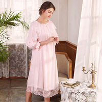 YSMILE Y Sweet Lace Nightgown Cotton Cute Beautiful Mesh Nightdress Slash Neck Princess Style Girl Spring Sleep Wear For Female