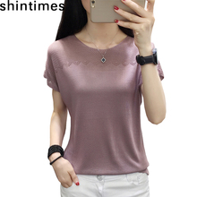 shintimes Summer Tops For Women 2019 Knitted Top Hollow Out Patchwork T Shirt O-Neck Short Sleeve Loose Tee Femme