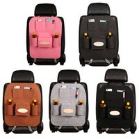 55*40cm Bright Plush Senior Style Non-woven Large Car Multifunction Hanging Organizer Car Seat Back Capacity Storage