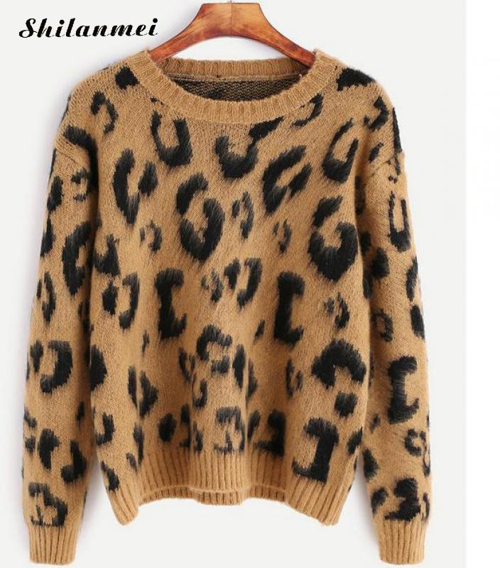 2017 Women Sweaters and Pullovers Winter Warm Long Sleeve Printed Leopard Knitted Pullover Sweater Women Ugly Christmas Sweater