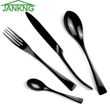 JANKNG 4Pcs/Lot Black Stainless Steel Dinnerware Polishing Cutlery Set Kitchen Tableware Fork Steak Knife TeaSpoon Dinner Set